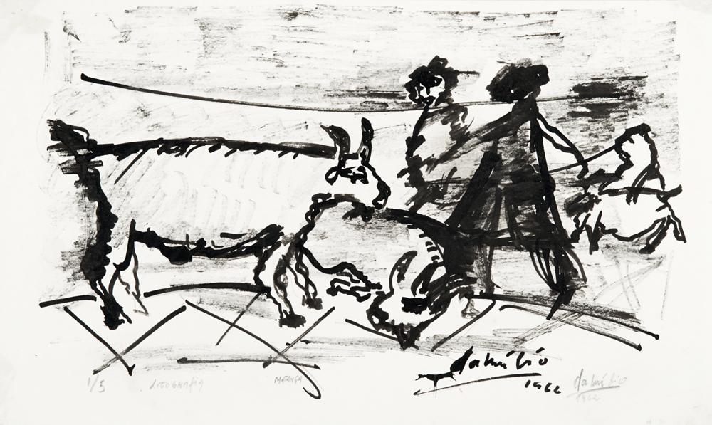 "DANÚBIO GONÇALVES  ""Matança"" - T 1/5 - 1962  litografia  Pinacoteca Aldo Locatelli  Foto Leopoldo Plentz"